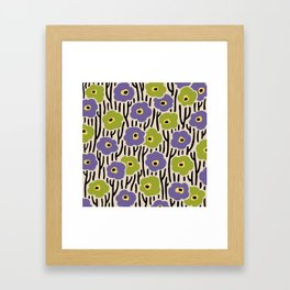 Mid Century Modern Wild Flowers Pattern Purple and Green Framed Art Print