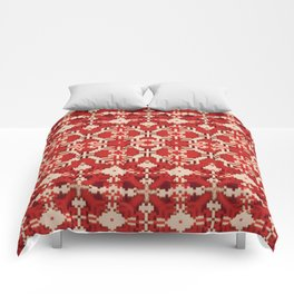 ikat geo mix patched in brigh red Comforters