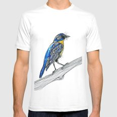 Bird Inspiration: Tickell's Blue Flycatcher MEDIUM White Mens Fitted Tee