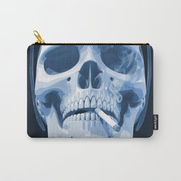 Skull Smoking Cigarette Blue Carry-All Pouch
