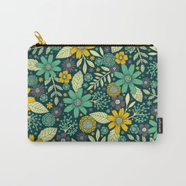 Teal, Yellow & Purple Floral/Daisy Pattern Carry-All Pouch