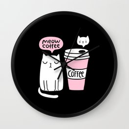 Meow coffee cat Wall Clock