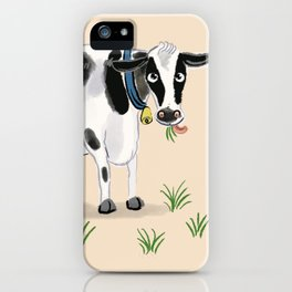 Cute cow eating grass iPhone Case