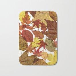 Autumn / Fall copper & gold leaves in English park - Oak, Beech Bath Mat