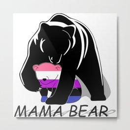 Mama Bear Genderfluid Metal Print