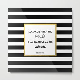 Coco Gold Square Elegance Quote Metal Print