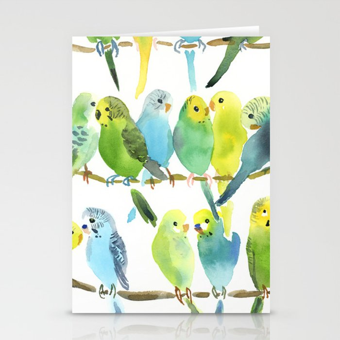 A Chatter of Budgerigars Stationery Cards by debtrevitt