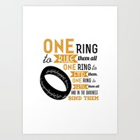lord of the ring Art Prints featuring The One Ring - The Lord of the Rings Typography by Teacuppiranha