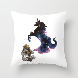 Astronaut Rubs a Wonder Lamp and a Unicorn Appears Throw Pillow