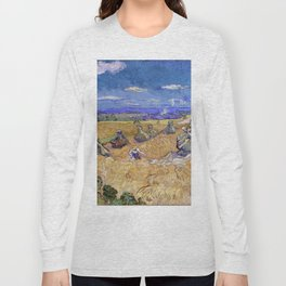 "Vincent van Gogh ""Wheat Stacks with Reaper"" Long Sleeve T-shirt"