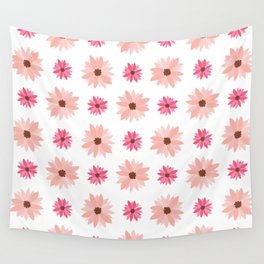 Natural Flowers Pattern-Pink Retro Flowers Wall Wall Tapestry