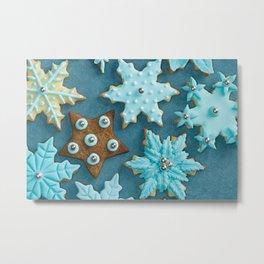 Fondant covered Christmas cookies Metal Print