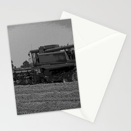 Black & White Harvesting Equipment Pencil Drawing Photo Stationery Cards