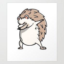 Funny Dabbing Hedgehog Pet Dab Dance Art Print