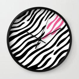 Zebra print. Pink Wall Clock