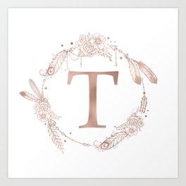 Letter T Rose Gold Pink Initial Monogram Art Print