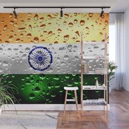 Flag of India - Raindrops Wall Mural