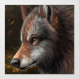 The head of a wolf painting.   Canvas Print