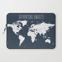 Adventure Awaits World Map in Navy Blue Laptop Sleeve