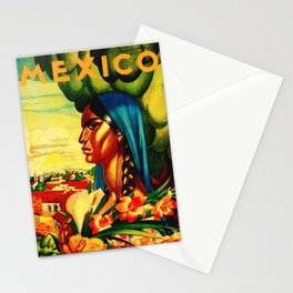 Vintage Mexico Travel - Woman with Flowers Stationery Cards