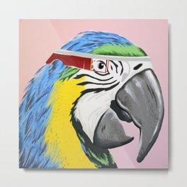 Macaw Parrot Wearing Google Glasses Metal Print