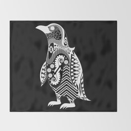 kuro penguin Throw Blanket