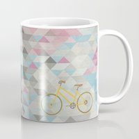bicycles Mugs featuring bicycles & triangles by sugi by saki