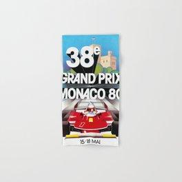 Monaco Gran Prix 38e 1980 Vintage Poster, Artwork for Wall Art, Prints, Poster, Tshirts, Men, Women, Kids Hand & Bath Towel