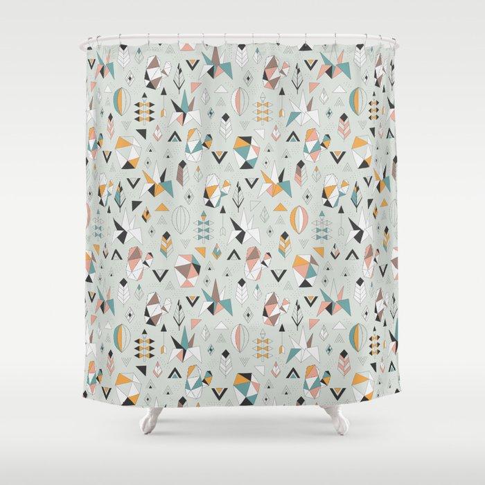 Geometric Boho Succulents Shower Curtain By Annaalexeeva
