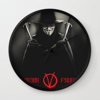 vendetta Wall Clocks featuring V for Vendetta (e2) by Ezgi Kaya