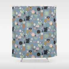 Lunar Pattern: Blue Moon Shower Curtain