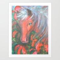Little Red Horse Art Print