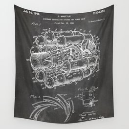 Airplane Jet Engine Patent - Airline Engine Art - Black Chalkboard Wall Tapestry