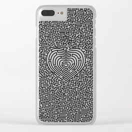 Ultimate heart maze in black Clear iPhone Case