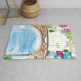 The Neighborhood. Original Artwork Painting Sketch. Bridge and Cityscape. Abstract City. Rug