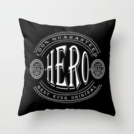 100% Hero (white 3D effect badge on black) Throw Pillow
