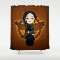katniss Shower Curtains featuring Kokeshi Katniss by Pendientera