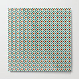 Retro Hippie Circles Aqua 8 Color 70s pattern Metal Print