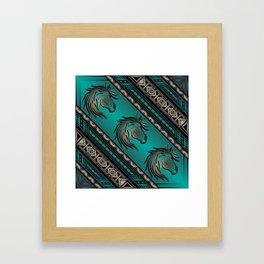 Horse Nation (Aqua) Framed Art Print