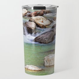 Lys river in Pont Saint Martin, in Aosta Valley, Italy Travel Mug