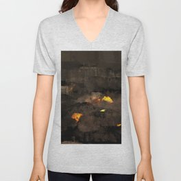 Abstract landscape nature texture lava fire geology digital illustration Unisex V-Neck