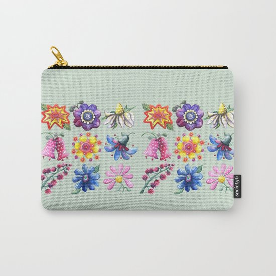 Pretty Flowers All in a Row Green Carry-All Pouch
