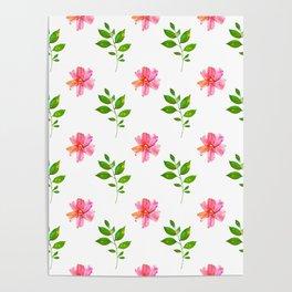 Modern elegant pink orange green watercolor floral pattern Poster