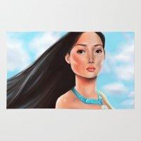 pocahontas Area & Throw Rugs featuring Pocahontas by Sam Pea