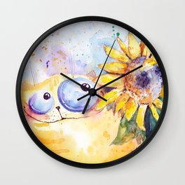 Sunflower and cat Wall Clock