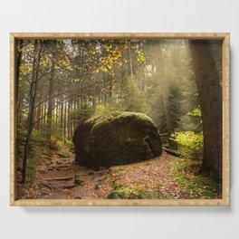 Large Boulder in Elbe Sandstone Mountains Serving Tray