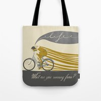 run Tote Bags featuring Run by Agne  Matulionyte
