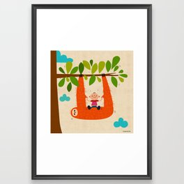 sloth swing Framed Art Print