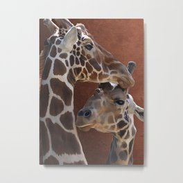 Endearing Giraffes Metal Print