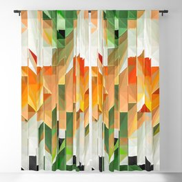 Geometric Tiled Orange Green Abstract Design Blackout Curtain